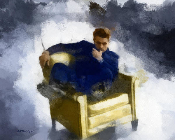 Digital Art - James Dean In Yellow Leather Chair by Paulette B Wright
