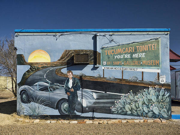 50s Wall Art - Photograph - James Dean Mural In Tucumcari On Route 66 by Carol Leigh
