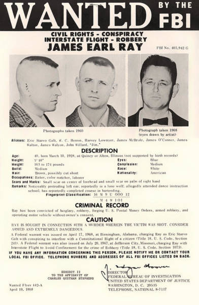 Notice Photograph - James Earl Ray Fbi Wanted Poster 1968 by Mountain Dreams