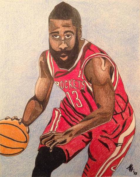 Houston Rockets Drawing - James Harden 2013 by Mark Hutton