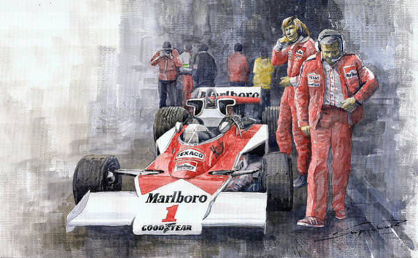 Autosport Wall Art - Painting - James Hunt Monaco Gp 1977 Mclaren M23 by Yuriy Shevchuk