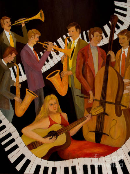 Wall Art - Painting - Jamin' With The Lady In Red by Larry Martin