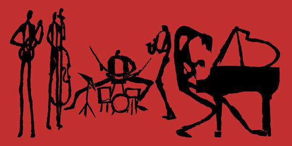 Jazz Trio Digital Art - Jammin Jazz On Red by Rhodes Rumsey