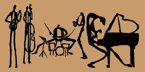 Jazz Trio Digital Art - Jammin Jazz On Tan by Rhodes Rumsey