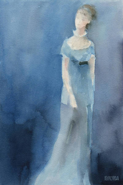 Abstract People Painting - Jane Austen Watercolor Painting Art Print by Beverly Brown