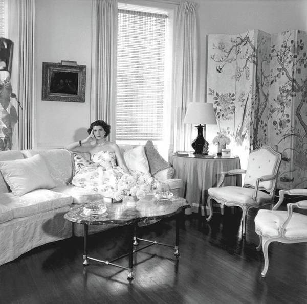 Coffee Photograph - Jane Engelhard In Her Drawing Room by Horst P. Horst