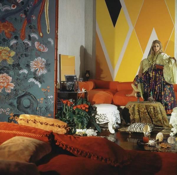Screen Photograph - Jane Holzer In Her Living Room by Horst P. Horst