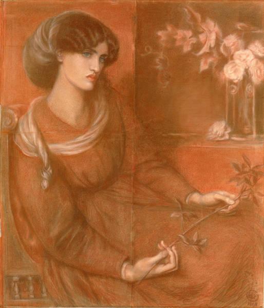 Chestnut Hair Drawing - Jane Morris. Study For Mariana by Dante Gabriel Rossetti