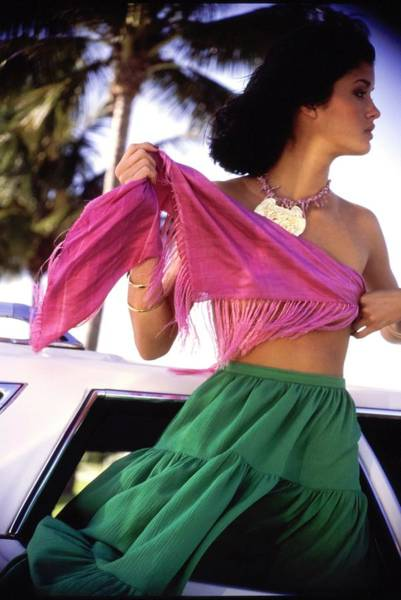 Wall Art - Photograph - Janice Dickinson Wearing A Doro Shawl by Arthur Elgort