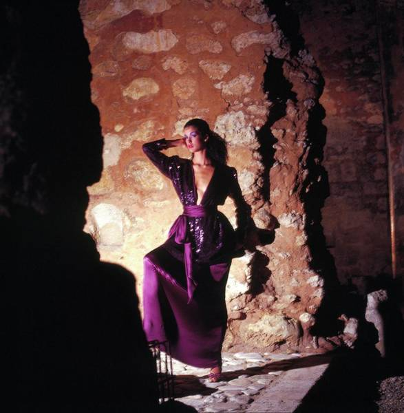 Wall Art - Photograph - Janice Dickinson Wearing Purple Top And Skirt by Horst P. Horst