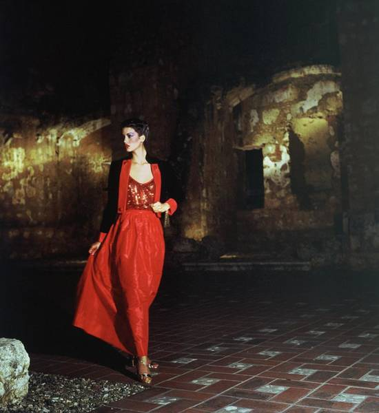 Tile Floor Photograph - Janice Dickinson Wearing Red Evening Gown by Horst P. Horst
