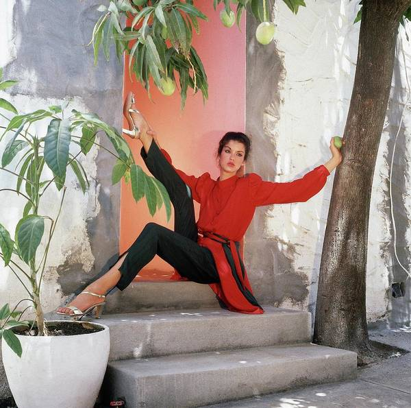 Santos Wall Art - Photograph - Janice Dickinson Wearing Tunic And Pants by Horst P. Horst