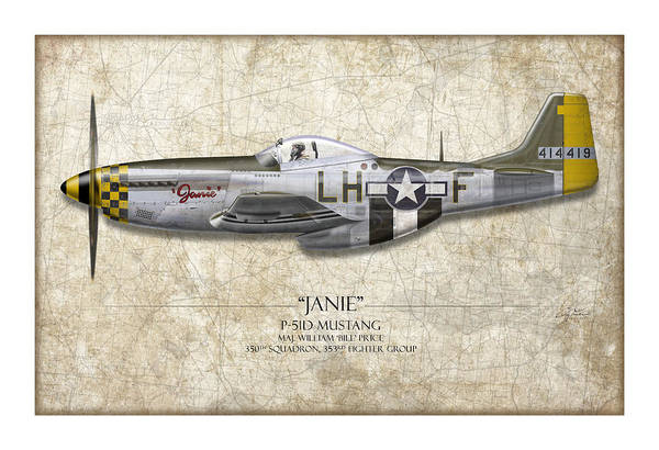 Air War Painting - Janie P-51d Mustang - Map Background by Craig Tinder