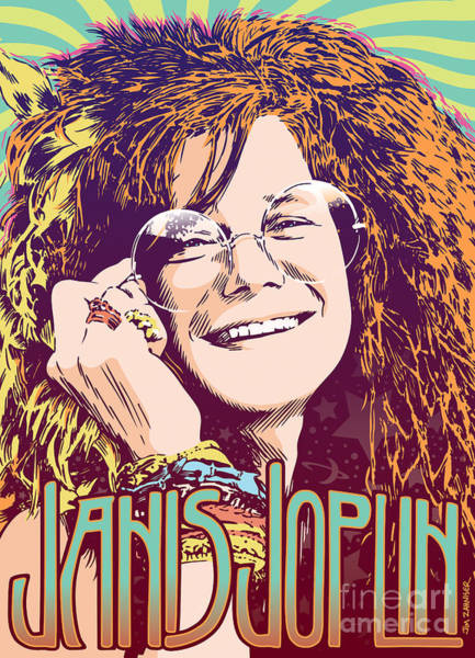 60s Digital Art - Janis Joplin Pop Art by Jim Zahniser