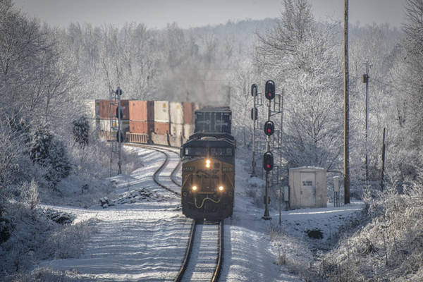 Subdivision Photograph - January 24. 2015 Csx Q028 At Nortonville Ky by Jim Pearson