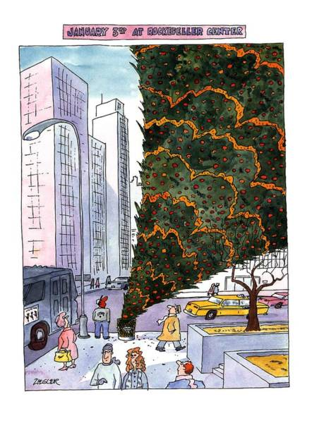 Christmas Drawing - January 3rd At Rockefeller Center by Jack Ziegler