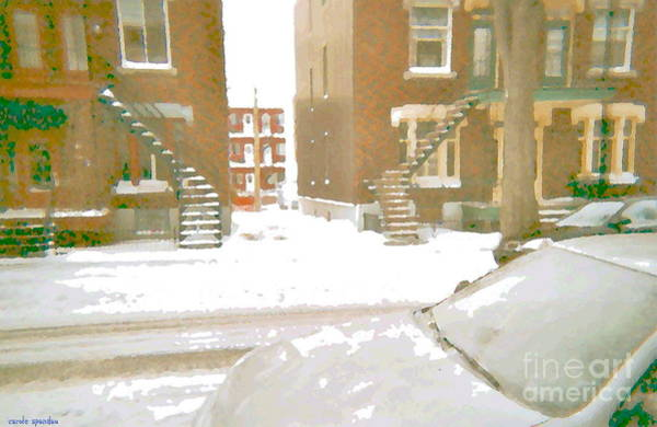 Painting - January Winter Street Winding Snow Covered Staircase Montreal Art Verdun Duplex Painting Cspandau by Carole Spandau