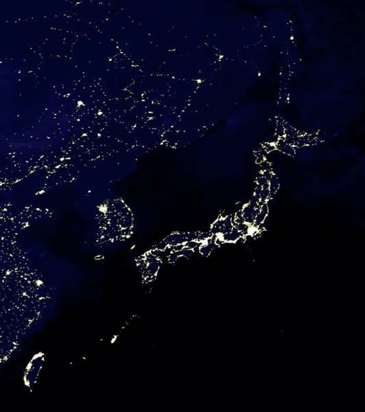Taiwanese Wall Art - Photograph - Japan At Night by Nasa/science Photo Library