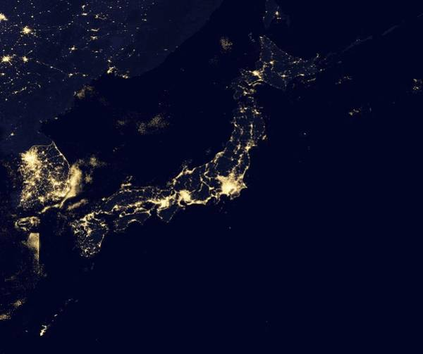 Suomi Photograph - Japan At Night, Satellite Image by Science Photo Library