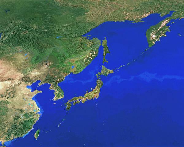 Kamchatka Photograph - Japan by Copyright 1995, Worldsat International And J. Knighton/science Photo Library