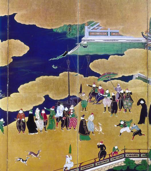 Feudal Japan Wall Art - Painting - Japan Portuguese Traders by Granger