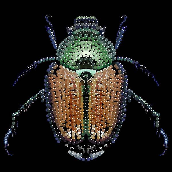 Digital Art - Japanese Beetle Bedazzled by R  Allen Swezey