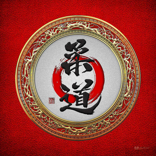 Digital Art - Japanese Calligraphy - Judo On Red by Serge Averbukh