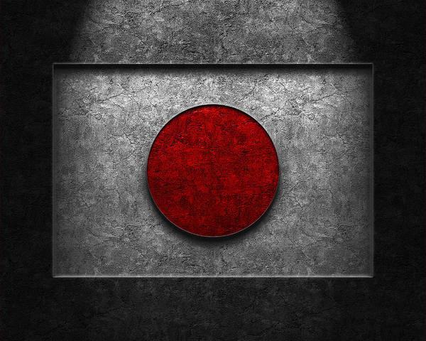Japanese Flag Stone Texture Art Print