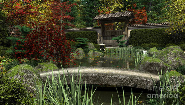 Granite Digital Art - Japanese Garden And Koi Pond Autumn by Fairy Fantasies