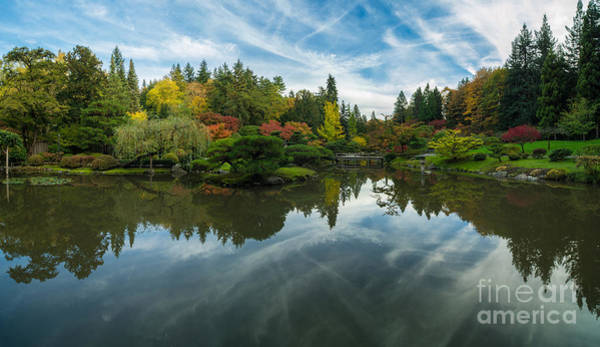 Koi Pond Photograph - Japanese Garden Fall Colors Seattle Panorama by Mike Reid