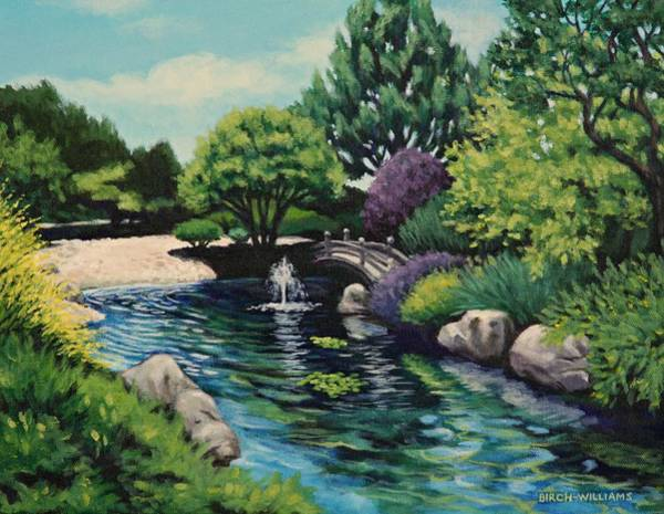 Painting - Japanese Garden Fountain View by Penny Birch-Williams