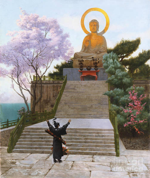 Japanese Shrine Painting - Japanese Imploring A Divinity by Jean Leon Gerome