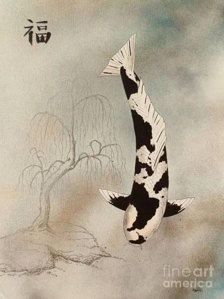 Mono Painting - Japanese Koi Utsuri Mono Weeping Willow Painting  by Gordon Lavender