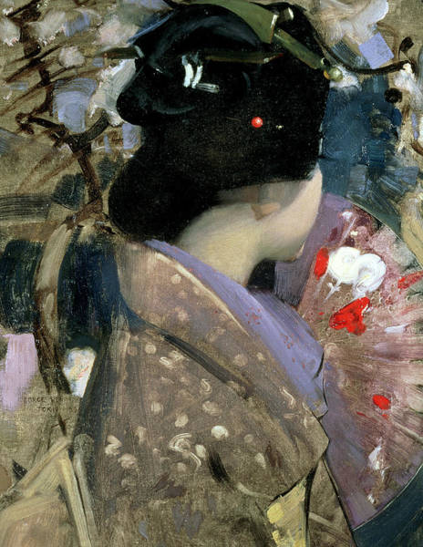 Chinese Brush Painting - Japanese Lady With A Fan by George F Henry