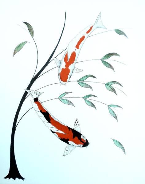 Mono Painting - Japanese Painting Of A Koi Kohaku And Showa Sanke by Gordon Lavender
