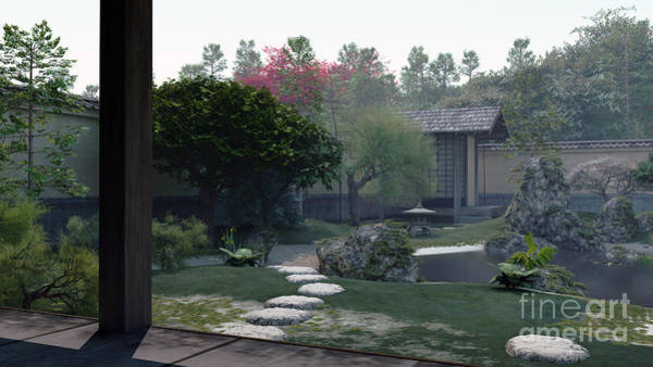 Granite Digital Art - Japanese Tea Garden Early Morning by Fairy Fantasies