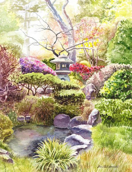 Golden Gate Painting - San Francisco Golden Gate Park Japanese Tea Garden  by Irina Sztukowski