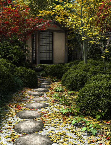 Granite Digital Art - Japanese Tea House And Garden by Fairy Fantasies
