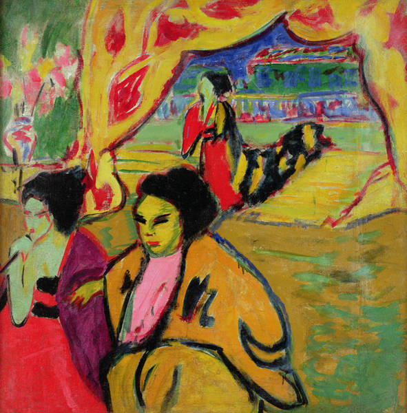 Expressionist Photograph - Japanese Theatre, 1909 Oil On Canvas by Ernst Ludwig Kirchner