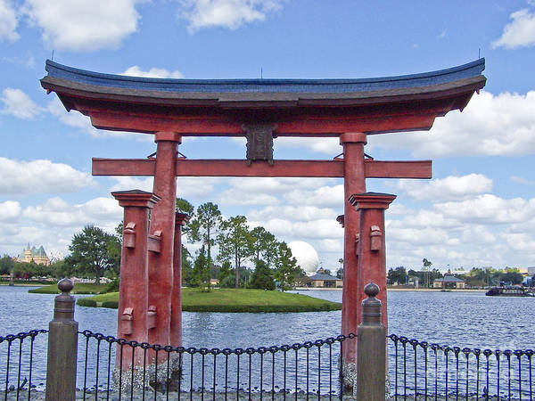 Photograph - Japanese Torri Gate At Epcot by Tom Doud