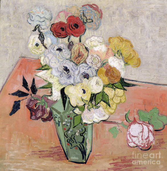 Post-impressionist Painting - Japanese Vase With Roses And Anemones by Vincent van Gogh