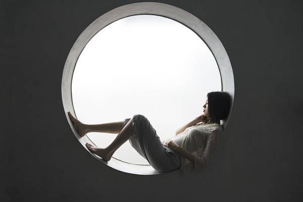 Japanese Woman Leaning On The Window Art Print by Shuji Kobayashi