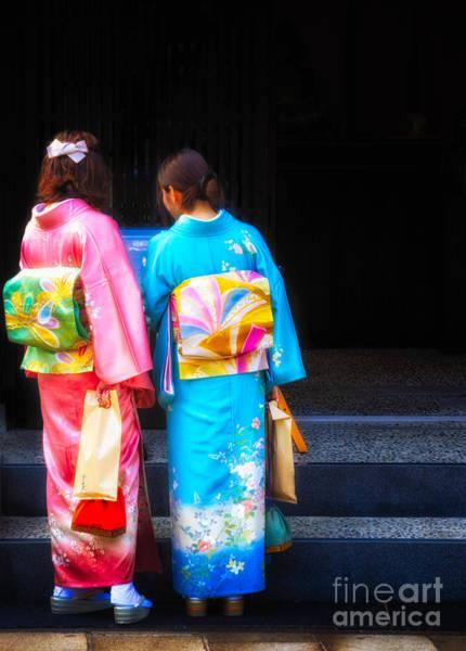 Japanese Women Wearing Beautiful Kimono Art Print