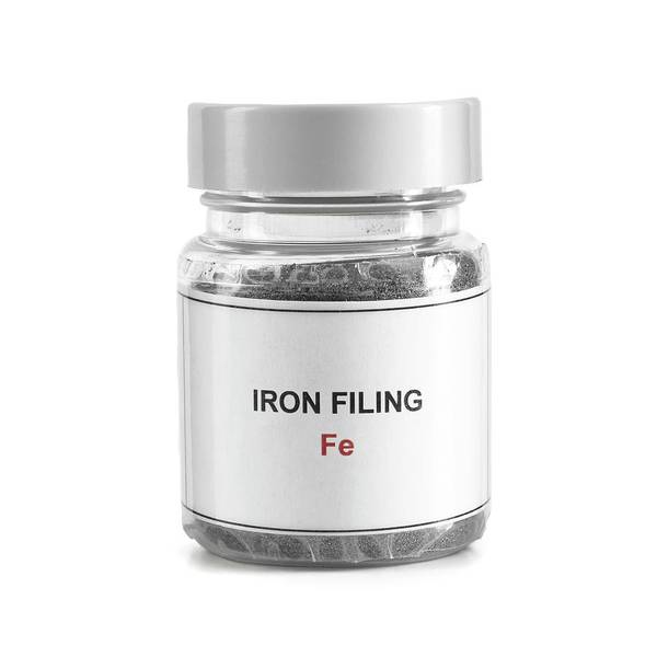 Atomic Number Wall Art - Photograph - Jar Containing Iron Filings by Science Photo Library