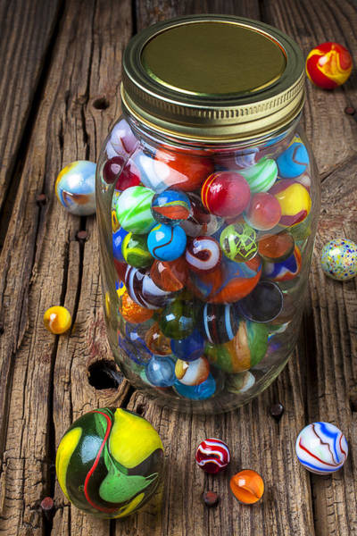 Amusing Photograph - Jar Of Marbles With Shooter by Garry Gay