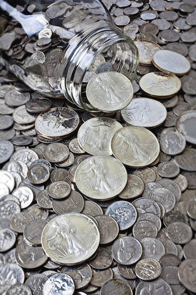 Spill Photograph - Jar Spilling Silver Coins by Garry Gay