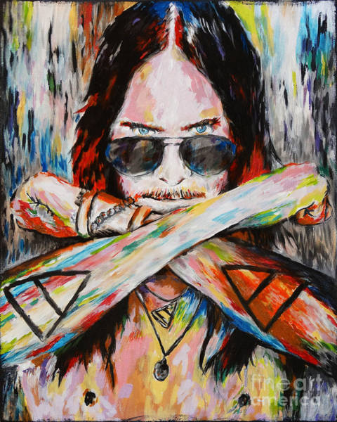 Jared Wall Art - Mixed Media - Jared Leto 30 Seconds To Mars Original Acrylic Painting Print by Ryan Rock Artist