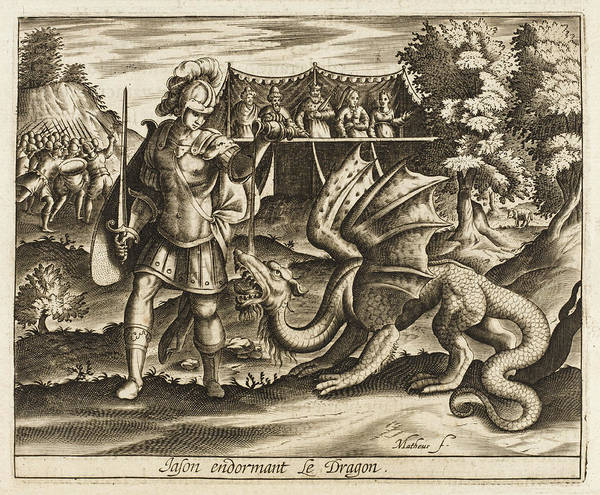 Folklore Drawing - Jason Subdues The Dragon That  Guards by Mary Evans Picture Library