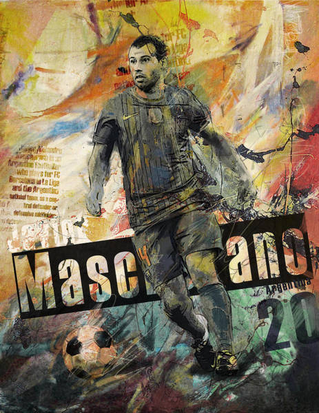 Premier League Wall Art - Painting - Javier Mascherano - B by Corporate Art Task Force