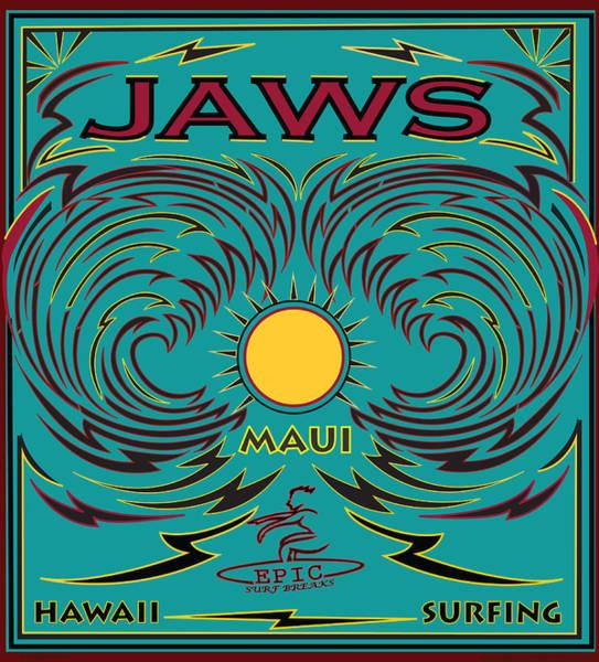 Wall Art - Digital Art - Surfing Jaws Hawaii Maui by Larry Butterworth